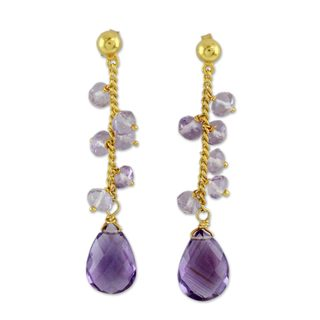 Handmade Gold Overlay 'Lilac Riches' Amethyst Earrings (India)