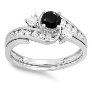 Elora 10k Gold 7/8ct TDW Round Black and White Diamond Swirl Bridal Engagement Ring Set (I-J, I1-I2)