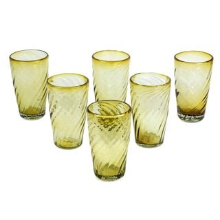 Set of 6 Blown Glass 'Amber Contours' Tumblers (Mexico)