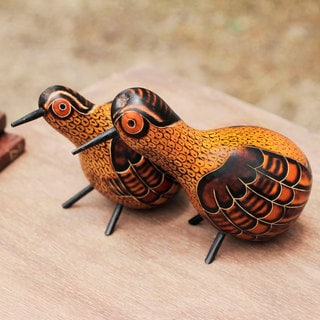 Set of 2 Handcrafted Gourd 'Peruvian Partridges' Sculptures (Peru)