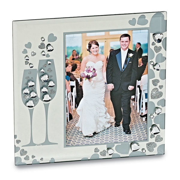 Versil Sparkling Toasting Flutes Glass 5-inch x 7-inch Photo Frame