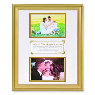 Versil 'Part of My Heart' White Finish Metal 6-inch x 4-inch Double Photo Frame