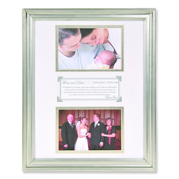 Versil Son to Parents White Metal 6-inch x 4-inch Double Photo Frame
