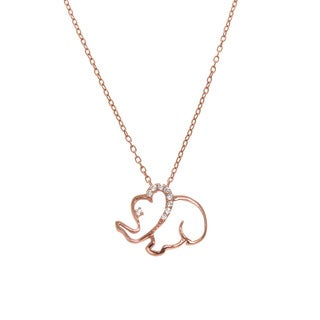 Eternally Haute Sterling Silver/Rose Goldplated Cubic Zirconia Elephant Pendant Necklace