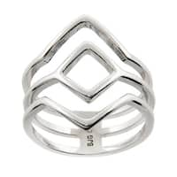 Eternally Haute High Polished Geometric Ring - Silver