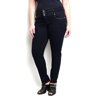 Shop The Trends Women's Plus Size Skinny Fit Tri-button Closure Zip Fly High-waisted Jeans
