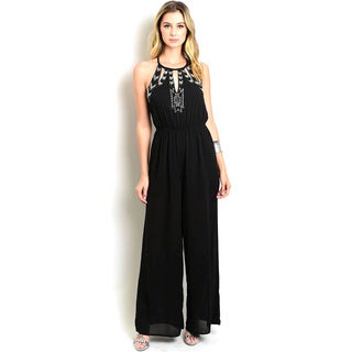 Shop The Trends Women's Woven Sleeveless Wide-legged Embellished Jumpsuit