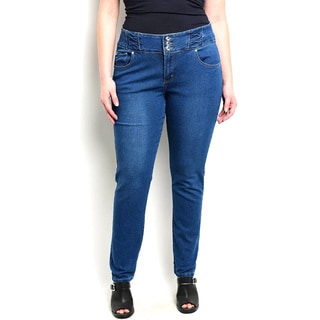 Shop The Trends Women's Plus Size Thick Waistband Skinny Jeans
