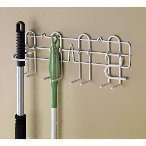 Gentil ClosetMaid White Stainless Steel Broom/Mop Holder