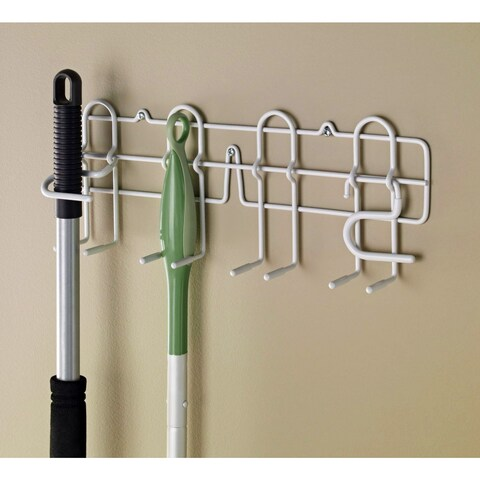 ClosetMaid White Stainless Steel Broom/Mop Holder