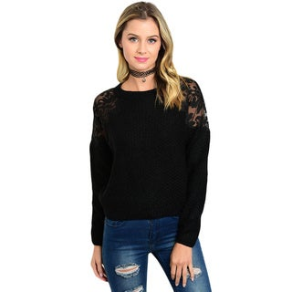Shop The Trends Women's Black, White Knit Long-sleeve Round Neckline Sweater