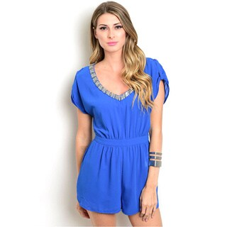 Shop the Trends Women's Cap-sleeve Woven Romper