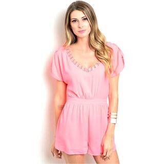 Shop the Trends Women's Cap-sleeve Woven Romper