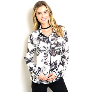 Shop The Trends Women's Floral Print Sheer Long Sleeve Button-down Blouse