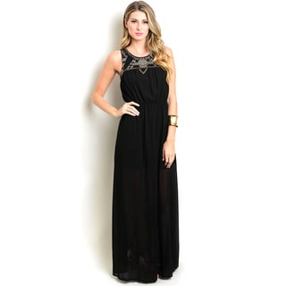 Shop The Trends Women's Black Polyester Sleeveless Empire Maxi Dress