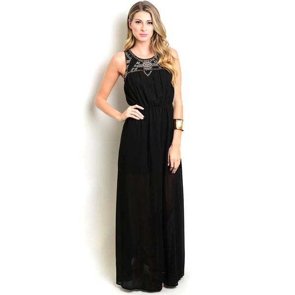 8cd66780d9 Shop The Trends Women  x27 s Black Polyester Sleeveless Empire Maxi Dress