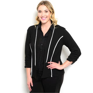 Shop the Trends Women's Plus Size 3/4 Sleeve Two-tone Color-trim Blazer