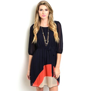 Shop the Trends Women's Missy Woven 3/4 Sleeve Tie-waist Dress