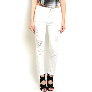 Shop the Trends Women's Zippered Straight-leg Low Denim Pants