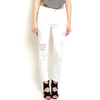 Shop the Trends Women's Zippered Straight-leg Low Denim Pants