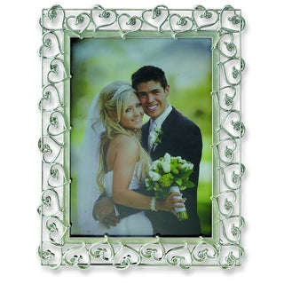 Versil Silver-plated Heart with Ivory Enamel 8-inch x 10-inch Photo Frame