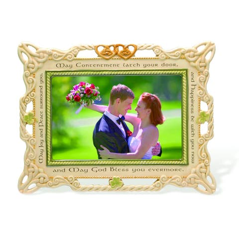 Ceramic Irish 4-inch x 6-inch Wedding Photo Frame by Versil