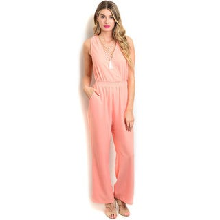 Shop the Trends Women's Sleeveless V-neckline and Hidden Pockets Woven Jumpsuit