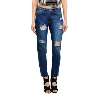 Shop The Trends Women's Indigo Wash Distressed Denim Pants