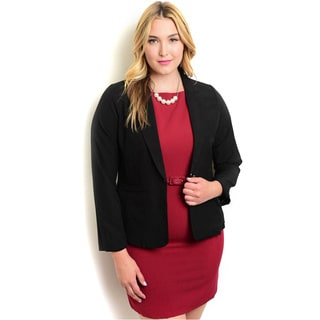 Shop The Trends Women's Plus Woven Long-sleeve Single-button Blazer