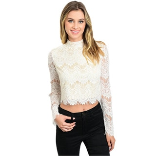 Shop The Trends Women's White Cotton, Nylon, Rayon Long Sleeve Lace Crop Top