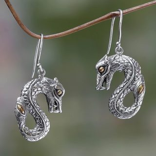 Handcrafted Gold Accent 'Fiery Dragon' Earrings (Indonesia)