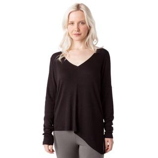 AtoZ Women's Black/Blue/Red/White Cotton Long-sleeve Asymmetric Top