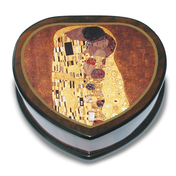 Versil Gustav Klimt 'The Kiss' Wood Heart-shaped Music Box