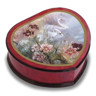 Versil Lena Liu 'Swan with Daylilies' Heart-shaped Music Box