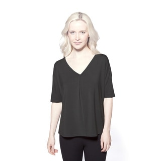 AtoZ Women's Modal Gathered V-neck Top