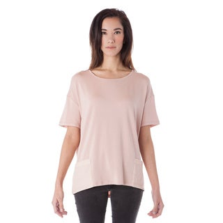 A to Z Women's White and Pink Cotton Modal Pocket Loose Top