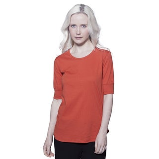 AtoZ Elbow Sleeve Fitted Cotton Top