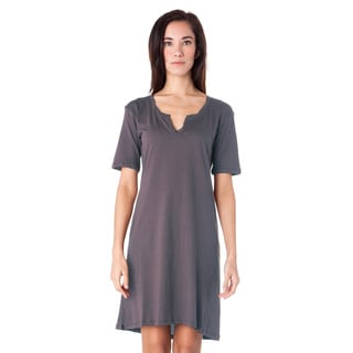 AtoZ Women's Cotton Grey and Purple Twisted Henley Dress