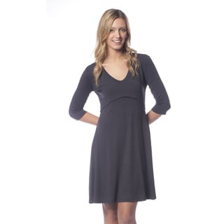 AtoZ Women's Modal A-line Rounded V-neck Dress