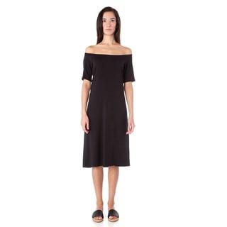 AtoZ Black Modal Off-the-shoulder Dress