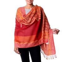 Handmade Wool 'Crimson Riches' Jamawar Shawl (India)