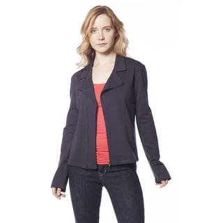 AtoZ Women's Navy Cotton Zip Sleeve Jacket