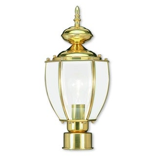 Livex Lighting Gold Brass 1-Light Outdoor Post Lantern