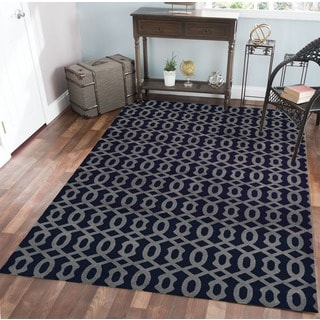 Admire Home Living Bronte Link Navy Area Rug (7'10 x 10'6)