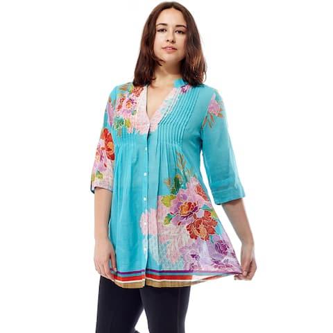 La Cera Women's 3/4 Sleeve Printed Tunic