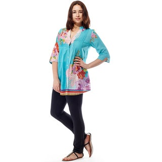 La Cera Women's 3/4 Sleeve Printed Tunic