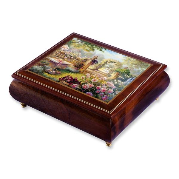 Versil Artist Brenda Burke Lisa's Garden Brown Wood Music Box
