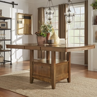 TRIBECCA HOME Octavia Warm Oak Counter Height Storage Base Extending Table