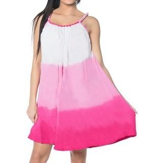La Leela Soft Rayon Sleeveless Casual Summer Evening Dress Women Cover up Pink
