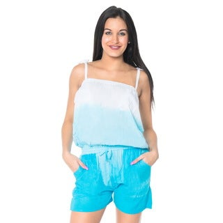 La Leela Women's Blue Rayon Lightweight Bikini Coverup Shorts Jumpsuits Tie-dye Stretchable Romper P